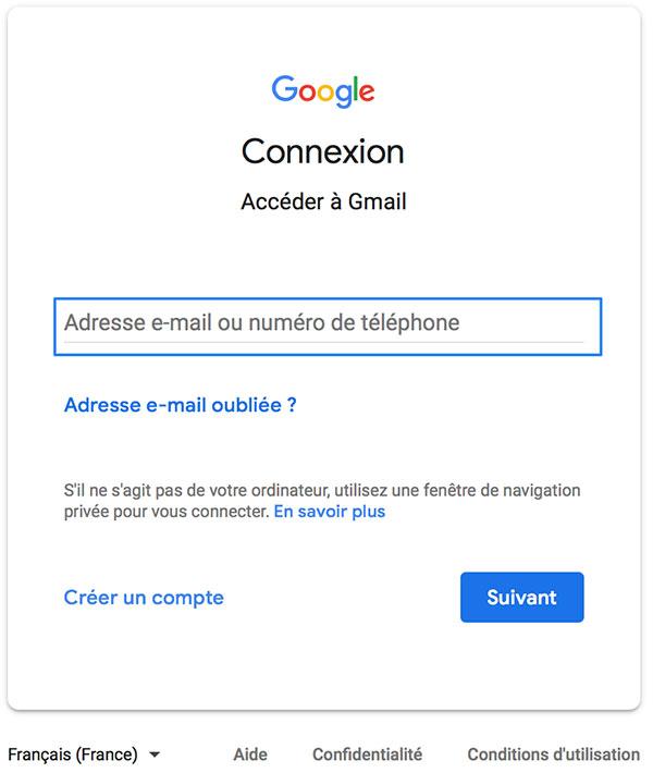 Connexion à Gmail