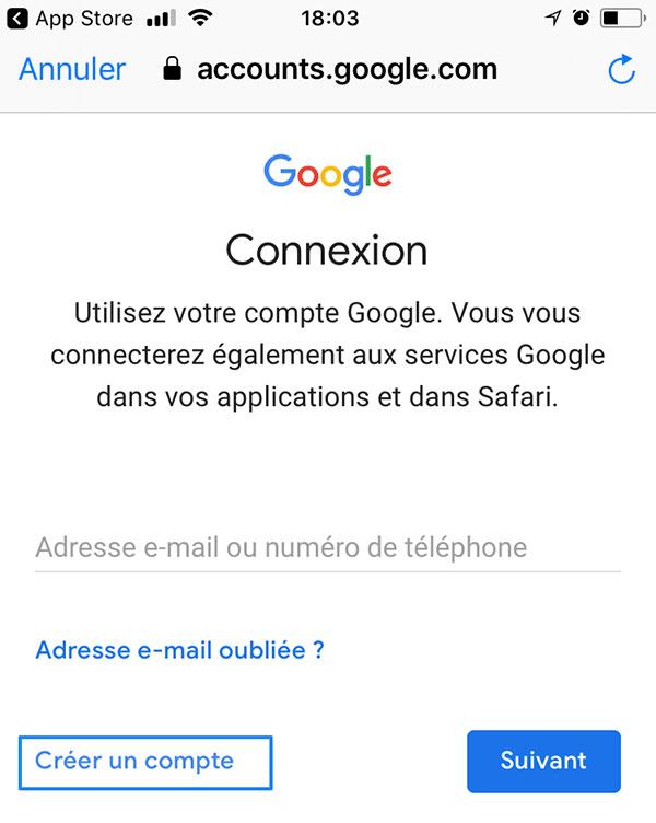 Créer un compte avec la App Gmail