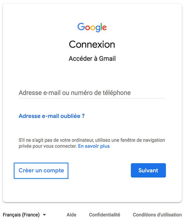 Nouveau compte gmail
