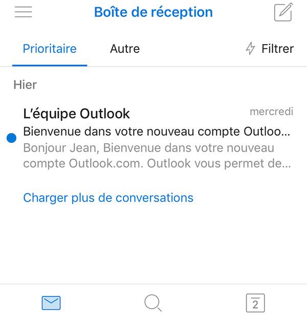 Boîte de réception Hotmail
