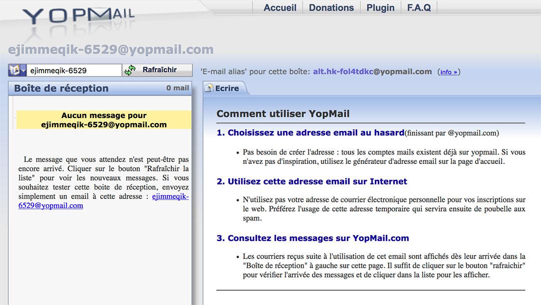 Boîte de réception YOPmail