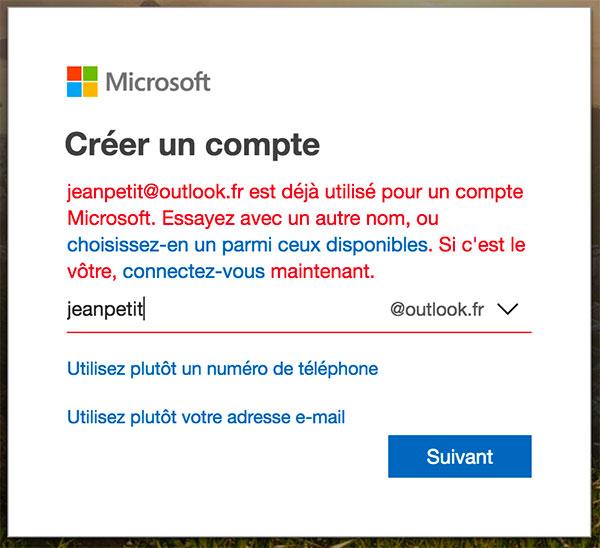 Choisir Hotmail