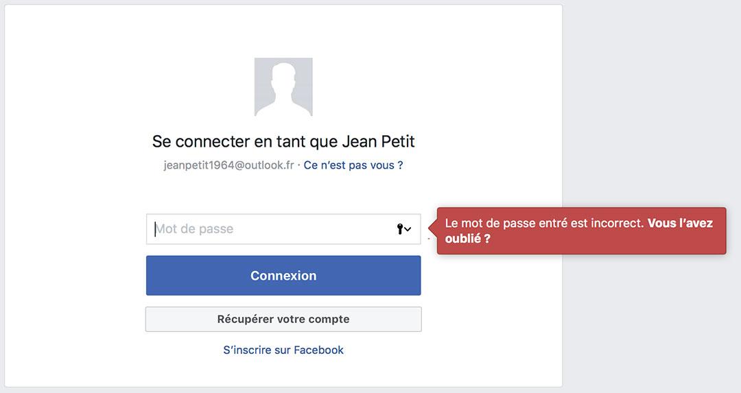 Récupérer compte Facebook