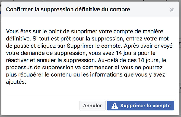 Supprimer mon compte Facebook