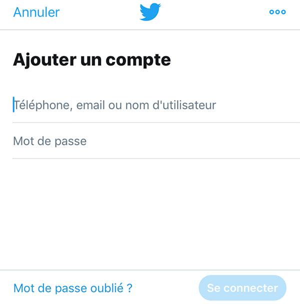 Ajouter un compte Twitter sur la App mobile
