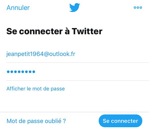 Se connecter à Twitter sur mobile