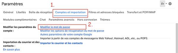 Comptes et importation Gmail
